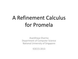 A Refinement Calculus  for  Promela