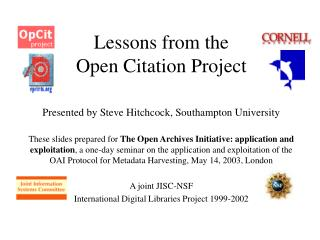 Lessons from the  Open Citation Project