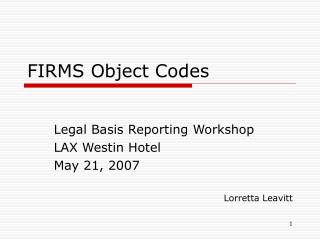 FIRMS Object Codes