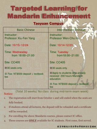 Targeted Learning for Mandarin Enhancement