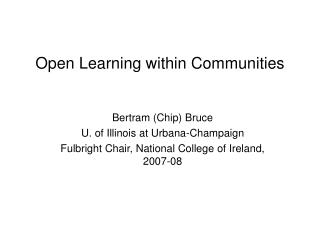 Open Learning within Communities