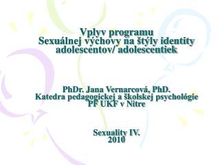 Návrh programu sexuálnej výchovy pre 9.ročník základných škôl a1.-2. ročník stredných škôl