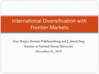 International Diversification with Frontier Markets