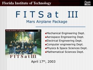 F I T S a t   III Mars Airplane Package