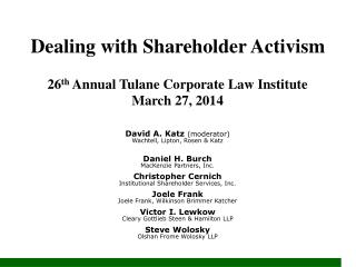 Dealing with Shareholder Activism