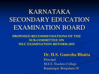 KARNATAKA SECONDARY EDUCATION EXAMINATION BOARD