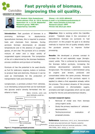 Fast pyrolysis of biomass, improving the oil quality.