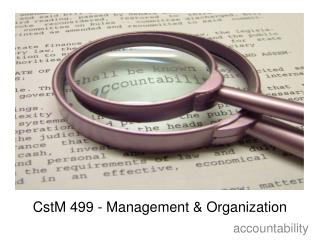 CstM 499 - Management & Organization