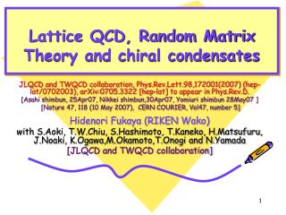 Lattice QCD, Random Matrix Theory and chiral condensates