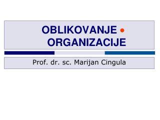OBLIKOVANJE ORGANIZACIJE