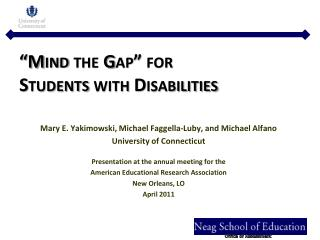 """Mind the Gap"" for  Students with Disabilities"