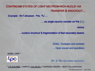 Continuum states of light neutron- rich nuclei  via  transfer  & knockout�