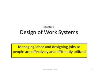 Chapter 7 Design of Work Systems