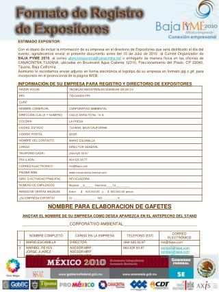 Formato de Registro de Expositores