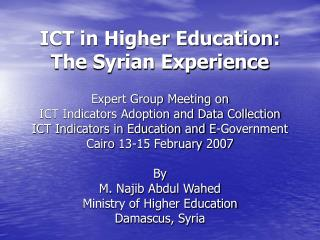 ICT in Higher Education: The Syrian Experience