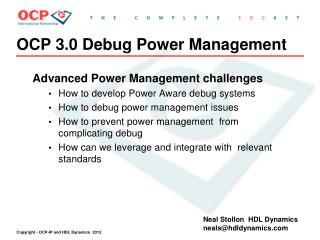 OCP 3.0 Debug Power Management