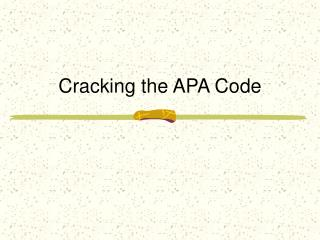 Cracking the APA Code