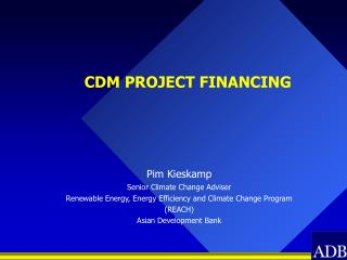CDM PROJECT FINANCING