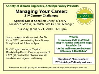 Society of Women Engineers, Antelope Valley Presents: