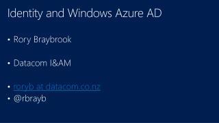 Identity and Windows Azure AD