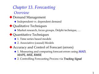 Chapter 13. Forecasting  Overview