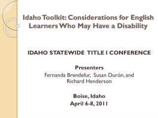 Idaho Toolkit: Considerations for English Learners Who May Have a Disability