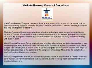Muskoka Recovery Center - A Ray to Hope