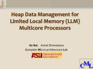 Heap Data Management for Limited Local Memory (LLM) Multicore Processors
