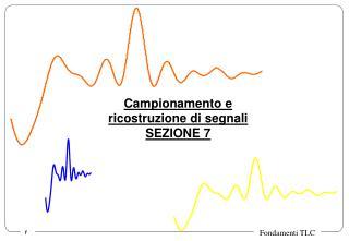 Campionamento e  ricostruzione di segnali SEZIONE 7
