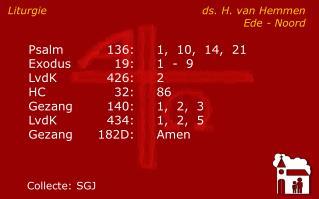 Liturgie ds. H. van HemmenEde - Noord
