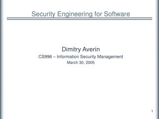 Security Engineering for Software