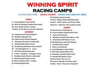WINNING SPIRIT  RACING CAMPS   IN YOUR OWN PO OL    -  SAMPLE FORMAT  -  CREATE YOUR OWN OFF MENU