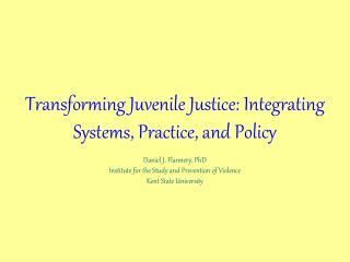Behavioral Health and Juvenile Justice