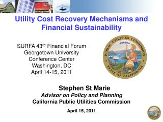 Utility Cost Recovery Mechanisms and Financial Sustainability