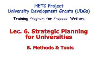 Lec. 6. Strategic Planning  for Universities