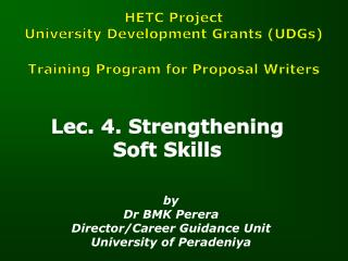 Lec. 4.  Strengthening  Soft Skills