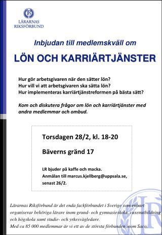Inbjudan till medlemskväll om LÖN OCH KARRIÄRTJÄNSTER