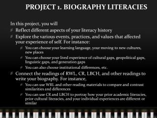 PROJECT 1. BIOGRAPHY LITERACIES