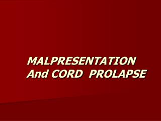 cord prolapse and cord presentation pdf