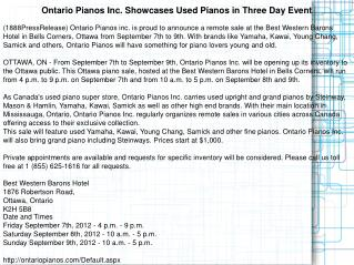 Ontario Pianos Inc. Showcases Used Pianos in Three Day Event