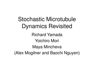 Stochastic Microtubule Dynamics Revisited