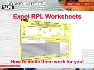 Excel RPL Worksheets How to make them work for you!