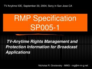 RMP Specification SP005-1