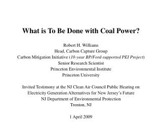 What is To Be Done with Coal Power?
