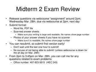 Midterm 2 Exam Review