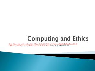 Computing and Ethics