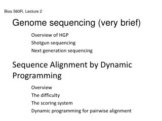 Sequence Alignment by Dynamic Programming
