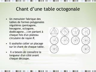 Chant d�une table octogonale