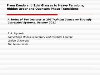 A Series of Ten Lectures at XVI Training Course on Strongly Correlated Systems, October 2011