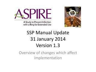 SSP Manual Update 31 January 2014 Version 1.3